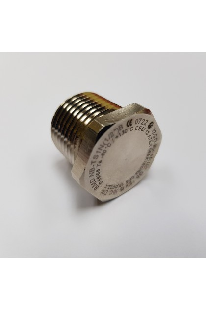 "BIMED Exe Hex Head Brass Nickel Plated Stopping Plug, 1-1/2""NPT"